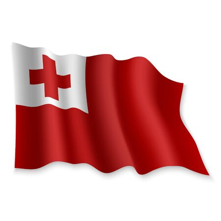 3D Realistic waving Flag of Tonga on white background Standard-Bild - 132560274
