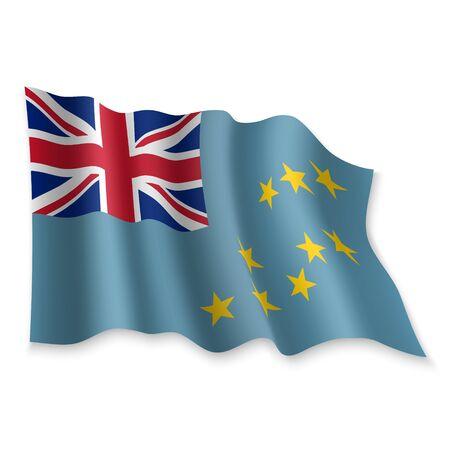 3D Realistic waving Flag of Tuvalu on white background Standard-Bild - 132559466