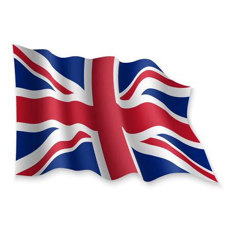 3D Realistic waving Flag of United Kingdom on white background Standard-Bild - 132559625
