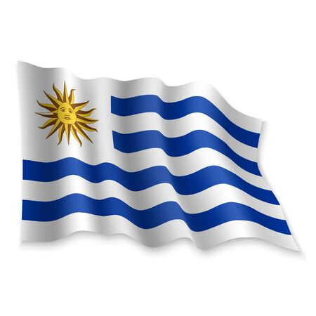 3D Realistic waving Flag of Uruguay on white background Stock Illustratie