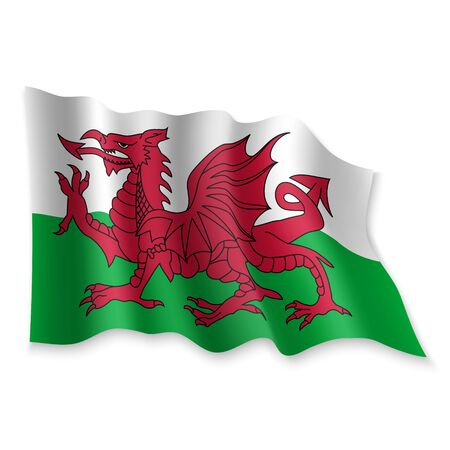 3D Realistic waving Flag of Wales on white background Standard-Bild - 132561419