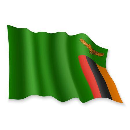 3D Realistic waving Flag of Zambia on white background Standard-Bild - 132560065