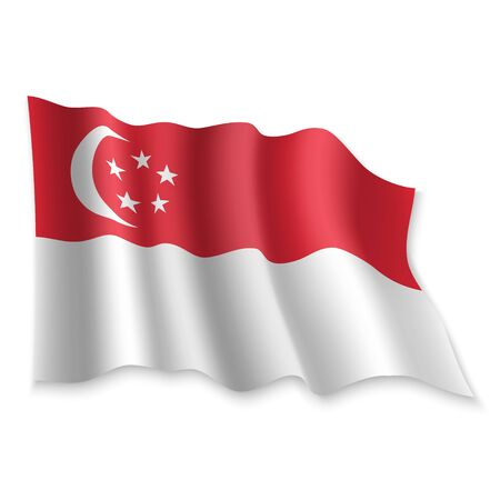 3D Realistic waving Flag of Singapore on white background Standard-Bild - 132560323
