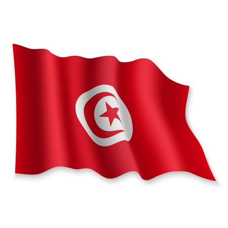 3D Realistic waving Flag of Tunisia on white background