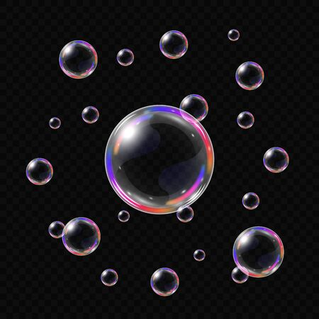 Realistic soap bubbles isolated on transparent background. Vector illustration