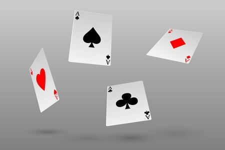 Set of four aces playing cards fly or falling Vectores