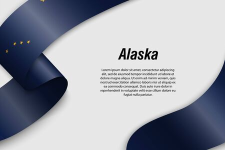 Waving ribbon or banner with flag of Alaska. State of USA. Template for poster design Иллюстрация