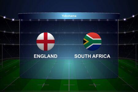 England vs. Südafrika, Rugby-Cup-Anzeigetafel-Übertragungsgrafikvorlage Vektorgrafik