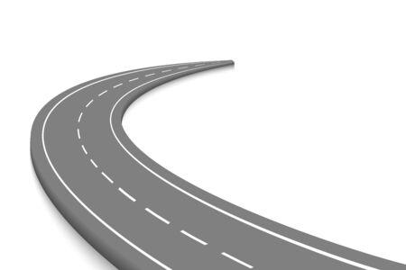 Route de courbe sinueuse isolée. Modèle d'infographie de localisation de chemin