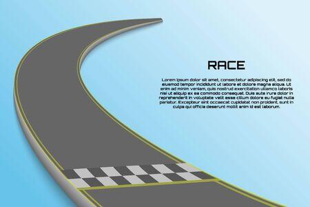Winding Curve Road isoliert, Rennstrecke mit Ziellinie Vektorgrafik
