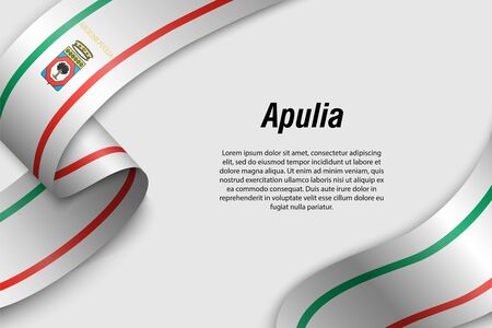 Waving ribbon or banner with flag of Apulia . Region of Italy. Template for poster design