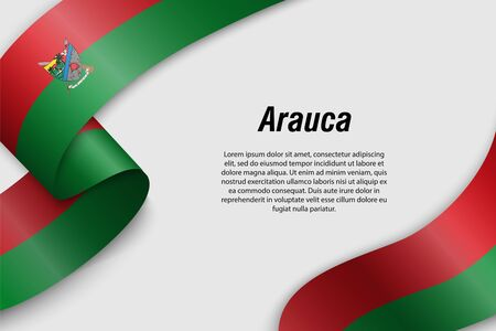 Waving ribbon or banner with flag of Arauca. Department of Colombia. Template for poster design