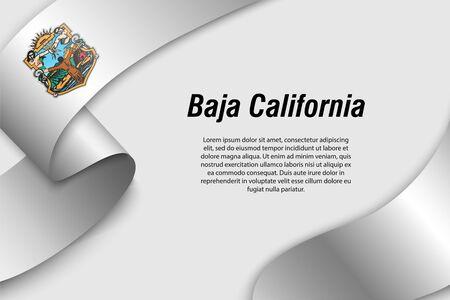 Cinta ondeando o banner con bandera de Baja California. Estado de México. Plantilla para diseño de carteles