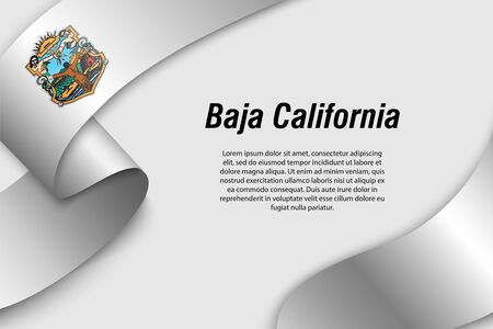 Waving ribbon or banner with flag of Baja California. State of Mexico. Template for poster design Vectores