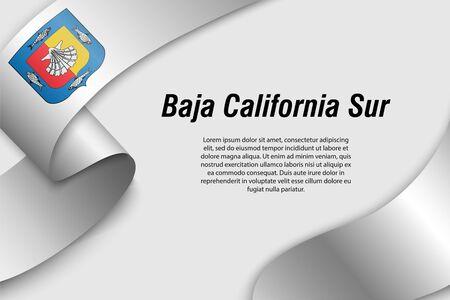 Cinta ondeando o banner con bandera de Baja California Sur. Estado de México. Plantilla para diseño de carteles