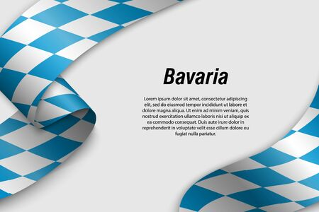 Waving ribbon or banner with flag of Bavaria. State of Germany. Template for poster design