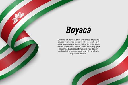 Waving ribbon or banner with flag of Boyaca. Department of Colombia. Template for poster design Vettoriali
