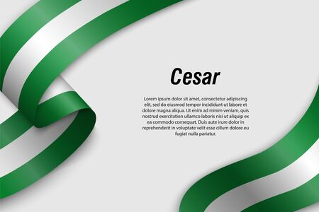 Waving ribbon or banner with flag of Cesar. Department of Colombia. Template for poster design