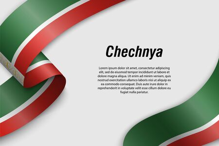 Waving ribbon or banner with flag of Chechnya. Region of Russia. Template for poster design