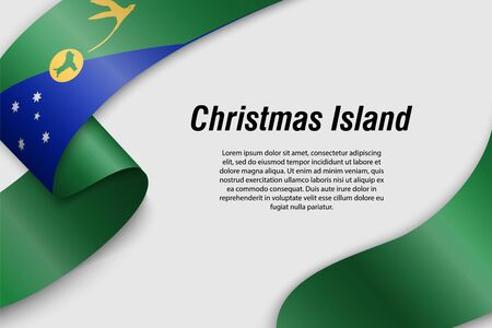 Waving ribbon or banner with flag of Christmas Island. State of Australia. Template for poster design Illustration
