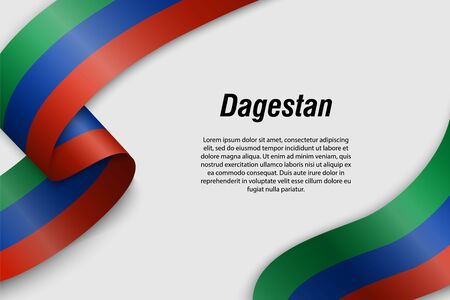 Waving ribbon or banner with flag of Dagestan. Region of Russia. Template for poster design