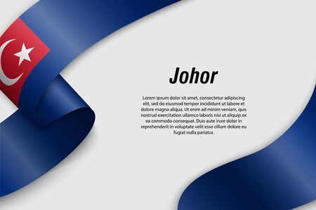 Waving ribbon or banner with flag of Johor. State of Malaysia. Template for poster design