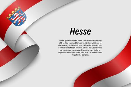 Waving ribbon or banner with flag of Hesse. State of Germany. Template for poster design