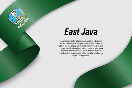 Waving ribbon or banner with flag of East Java. Province of Indonesia. Template for poster design