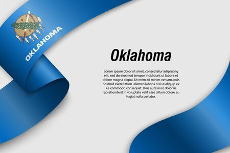 Waving ribbon or banner with flag of Oklahoma. State of USA. Template for poster design Иллюстрация