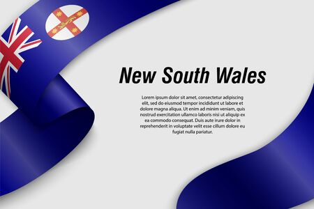 Waving ribbon or banner with flag of New South Wales. State of Australia. Template for poster design Ilustração