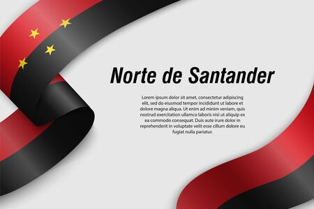 Waving ribbon or banner with flag of Norte de Santander. Department of Colombia. Template for poster design Illustration