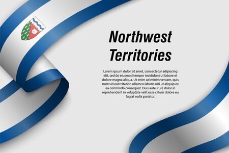 Waving ribbon or banner with flag of Northwest Territories. Province of Canada. Template for poster design 일러스트