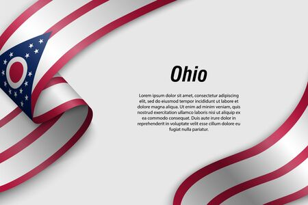 Waving ribbon or banner with flag of Ohio. State of USA. Template for poster design
