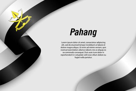 Waving ribbon or banner with flag of Pahang. State of Malaysia. Template for poster design