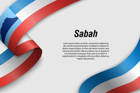 Waving ribbon or banner with flag of Sabah. State of Malaysia. Template for poster design