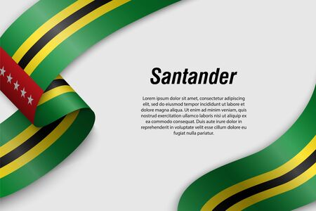 Waving ribbon or banner with flag of Santander. Department of Colombia. Template for poster design