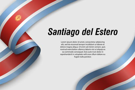 Waving ribbon or banner with flag of Santiago del Estero. Province of Argentina. Template for poster design 向量圖像
