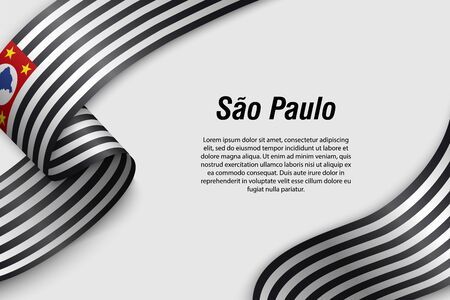 Waving ribbon or banner with flag of Sao Paulo. State of Brazil. Template for poster design