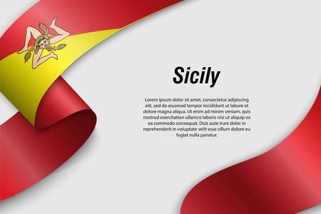 Waving ribbon or banner with flag of Sicily. Region of Italy. Template for poster design