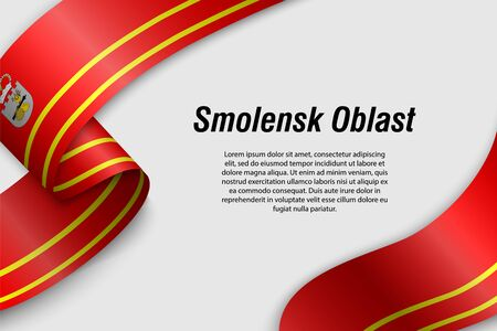 Waving ribbon or banner with flag of Smolensk Oblast. Region of Russia. Template for poster design
