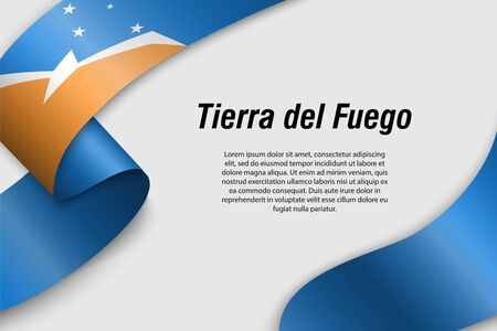 Waving ribbon or banner with flag of Tierra del Fuego. Province of Argentina. Template for poster design 矢量图像