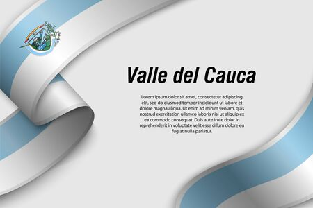Waving ribbon or banner with flag of Valle del Cauca. Department of Colombia. Template for poster design