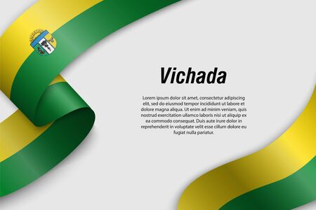 Waving ribbon or banner with flag of Vichada. Department of Colombia. Template for poster design 向量圖像