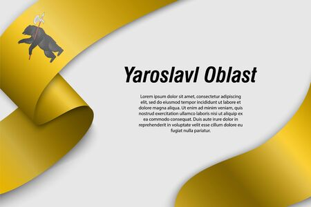 Waving ribbon or banner with flag of Yaroslavl Oblast. Region of Russia. Template for poster design 일러스트