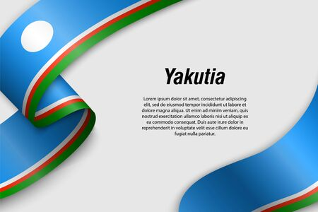 Waving ribbon or banner with flag of Yakutia. Region of Russia. Template for poster design 일러스트