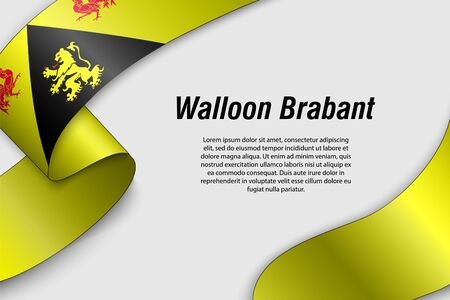 Waving ribbon or banner with flag of Walloon Brabant. Province of Belgium. Template for poster design