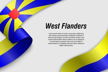 Waving ribbon or banner with flag of West Flanders. Province of Belgium. Template for poster design