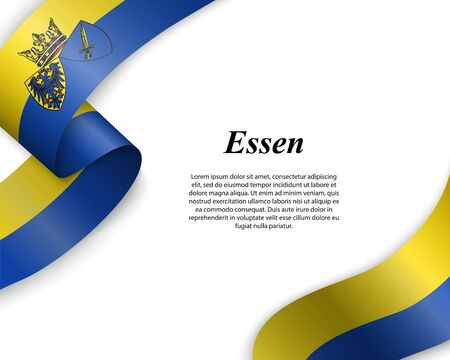 Waving ribbon with flag of Essen City. Template for poster design Иллюстрация