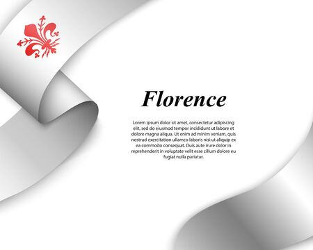 Waving ribbon with flag of Florence City. Template for poster design Illustration