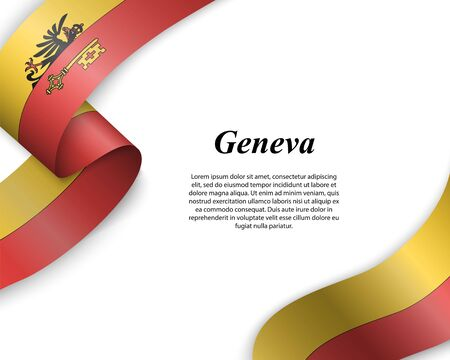 Waving ribbon with flag of Geneva City. Template for poster design